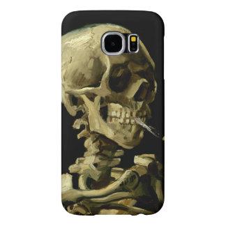 Cráneo con el cigarrillo ardiente de Van Gogh Fundas Samsung Galaxy S6