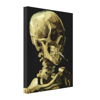 Cráneo con el cigarrillo ardiente de Van Gogh Impresión En Lienzo Estirada