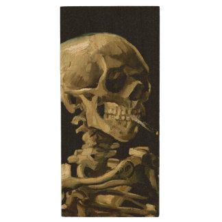 Cráneo con el cigarrillo ardiente de Van Gogh Pen Drive De Madera USB 3.0
