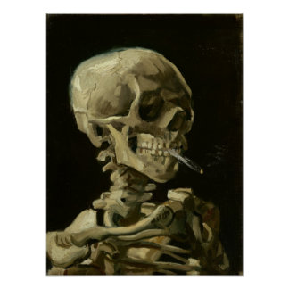 Cráneo con el cigarrillo ardiente de Van Gogh Póster