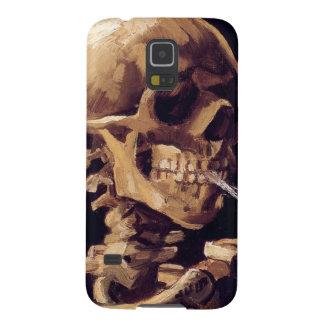 Cráneo con el cigarrillo ardiente que pinta a Van Carcasas De Galaxy S5