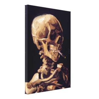 Cráneo con el cigarrillo ardiente - Vincent van Go Impresión En Tela