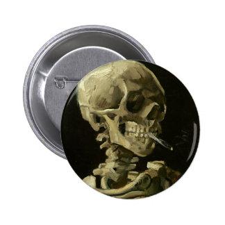 Cráneo con el cigarrillo de Van Gogh Pin Redondo 5 Cm