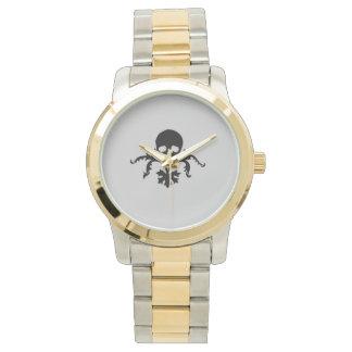 Cráneo con el elemento floral relojes de pulsera