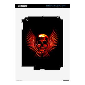 Cráneo con el fuego del infierno iPad 3 pegatina skin