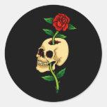 Cráneo con el rosa etiquetas redondas