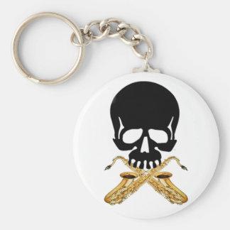 Cráneo con el saxofón como bandera pirata llavero personalizado