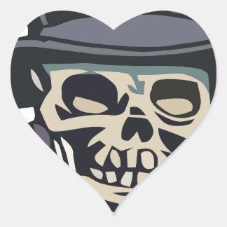 Cráneo con el sombrero de copa pegatina en forma de corazón