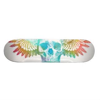 Cráneo con el tablero del patinador del ala del pá patineta personalizada