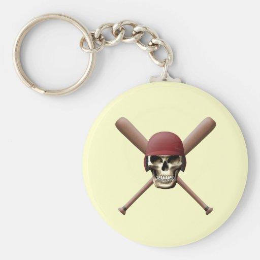 Cráneo con el timón del béisbol y los palos cruzad llaveros