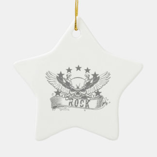 Cráneo con la bandera de la roca de las alas adorno navideño de cerámica en forma de estrella