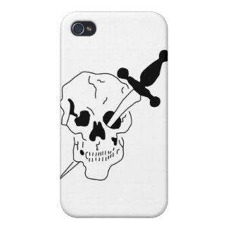 cráneo con la espada iPhone 4 carcasa