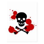 Cráneo con la salpicadura de la sangre tarjetas postales