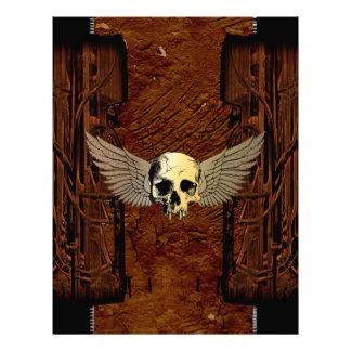 Cráneo con las alas en fondo oscuro membrete