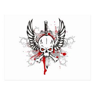 Cráneo con las alas postal