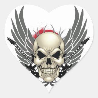 Cráneo con las alas y las guitarras calcomanía corazón