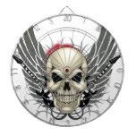 Cráneo con las alas y las guitarras tabla dardos