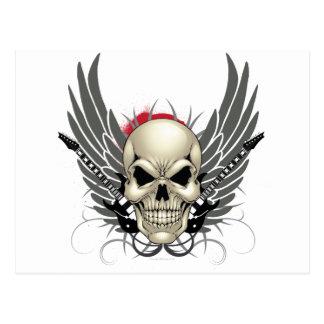 Cráneo con las alas y las guitarras tarjetas postales