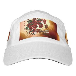 Cráneo con las flores hermosas gorras de alto rendimiento