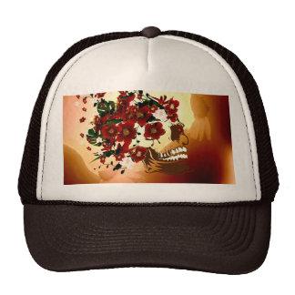 Cráneo con las flores hermosas gorras de camionero