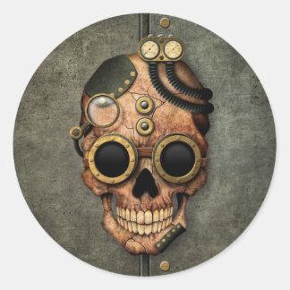 Cráneo con las gafas - efecto de acero de pegatina redonda