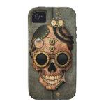 Cráneo con las gafas - efecto de acero de Steampun iPhone 4/4S Fundas