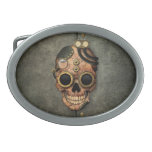 Cráneo con las gafas - efecto de acero de Steampun Hebilla De Cinturon