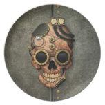 Cráneo con las gafas - efecto de acero de Steampun Plato De Comida