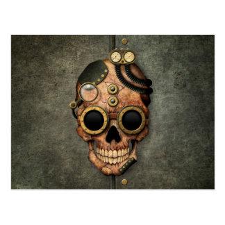 Cráneo con las gafas - efecto de acero de Steampun Tarjeta Postal