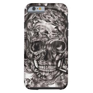 Cráneo con las ilustraciones dibujadas mano de los funda de iPhone 6 tough