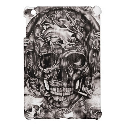 Cráneo con las ilustraciones dibujadas mano de los iPad mini protector