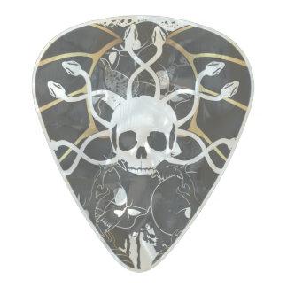 Cráneo con las serpientes púa de guitarra celuloide nacarado