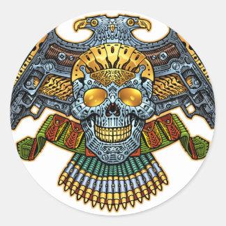 Cráneo con los armas y las balas por el Al Río Pegatinas Redondas