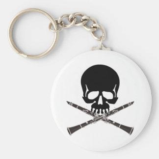Cráneo con los Clarinets y la bandera pirata Llavero Redondo Tipo Pin