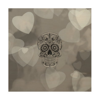 cráneo con los corazones cuadros de madera