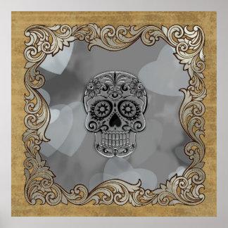 cráneo con los corazones póster