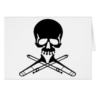 Cráneo con los Trombones como bandera pirata Tarjeta De Felicitación