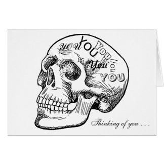 Cráneo con pensamientos de usted tarjeta de felicitación