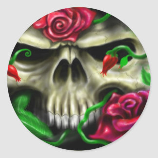 cráneo con roses.jpg pegatina redonda