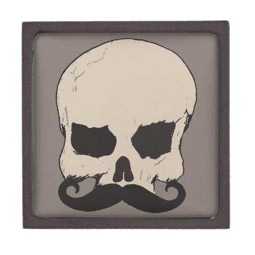 Cráneo con un bigote caja de joyas de calidad