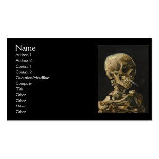 Cráneo con un cigarrillo ardiente de Van Gogh Plantillas De Tarjetas Personales