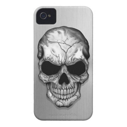 Cráneo cristalino metálico en efecto del acero iPhone 4 cárcasa