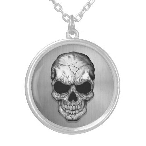 Cráneo cristalino metálico en efecto del acero ino collares