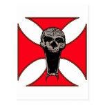Cráneo cruzado de Templar Postal