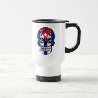 Cráneo cubano adaptable del azúcar de la bandera taza de viaje de acero inoxidable