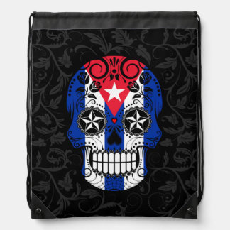 Cráneo cubano del azúcar de la bandera con los mochila