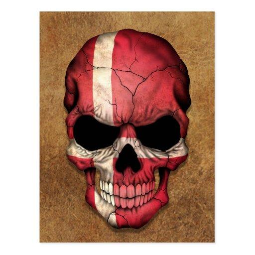 Cráneo danés envejecido y llevado de la bandera postales
