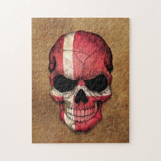 Cráneo danés envejecido y llevado de la bandera puzzles con fotos
