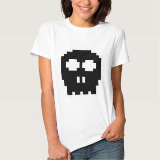Cráneo de 8 bits negro retro playera