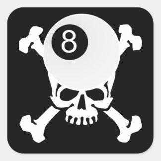 cráneo de 8 bolas pegatina cuadrada